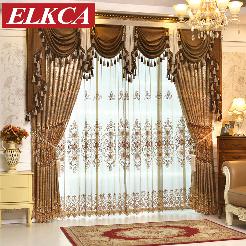 High Quality European Embroidered Luxury Curtains For Living Room Chenille Valance Voile Window Curtain