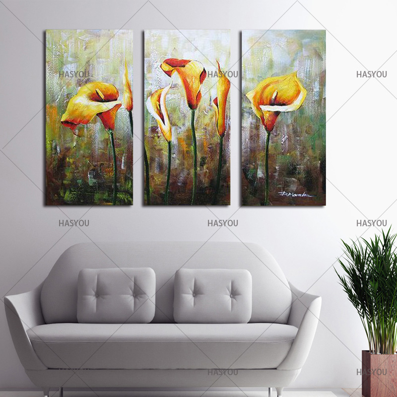 Hand-Painted-3pcs-Modular-Calla-Lily-Flower-Picture-Oil-Painting-On-Canvas-Wall-Art-Gift-Living (4)
