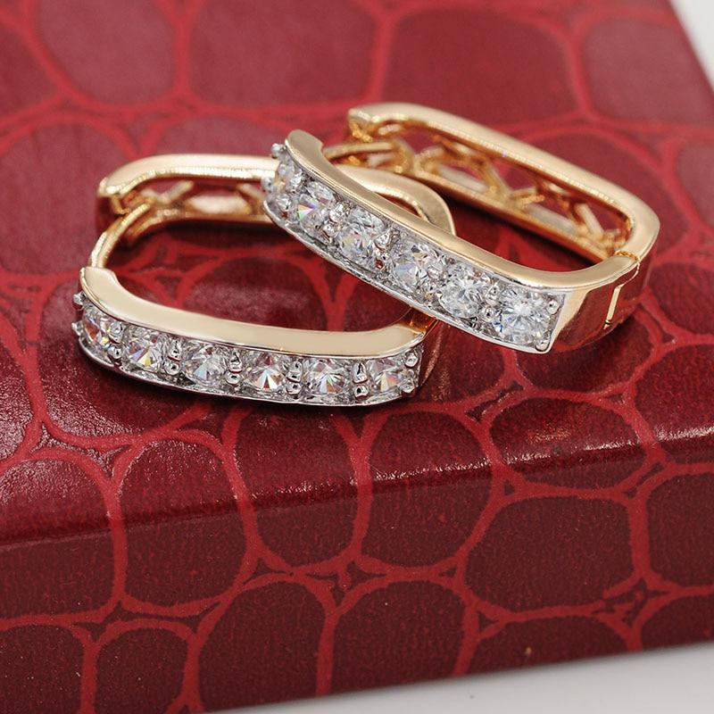 MxGxFam(Заводская распродажа) квадратные серьги-кольца для женщин смешанный золотой цвет Высокое качество AAA+ CZ