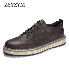 ZYYZYM Men Brogue Shoes Lace-up Style 2019 Spring Autumn New Leather Thick soled Casual Pantshoes Footwear