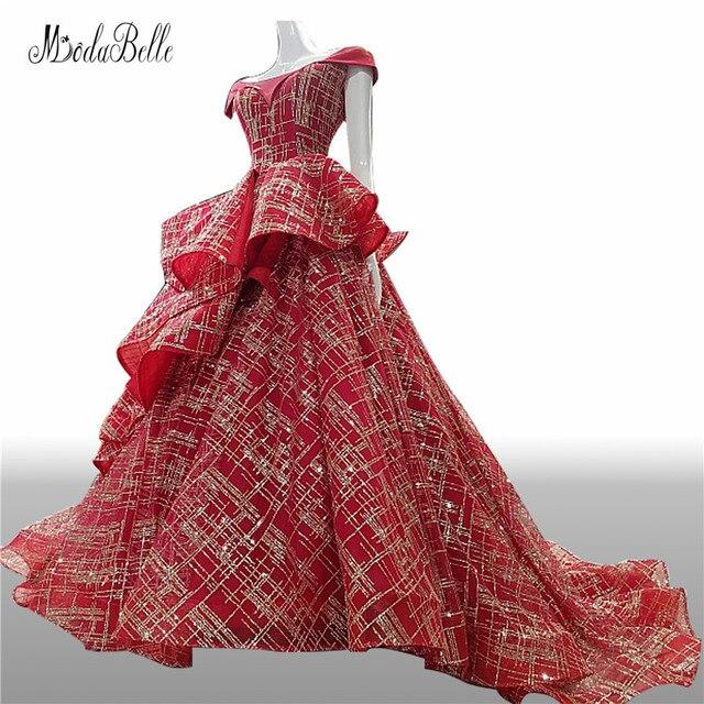 b4b9d4bdde modabelle Elegant Long Burgundy Prom Dresses 2018 See Through Off The  Shoulder Gold Sequin Evening Gowns
