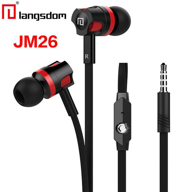 Original Langsdom JM26 In Ear Earphone Wired 3.5mm Sport Headset Bass Stereo Music Earphones with Mic for Iphone Samsung XiaoMi