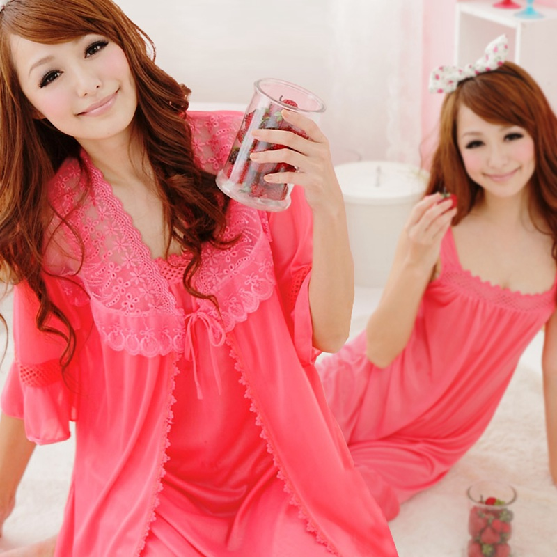 2PCS Sexy Silk Satin Nightgown Night Dress Robes Set For Women Summer Lingerie Nightdress Sleepwear Bathrobe Femme Two Piece Set