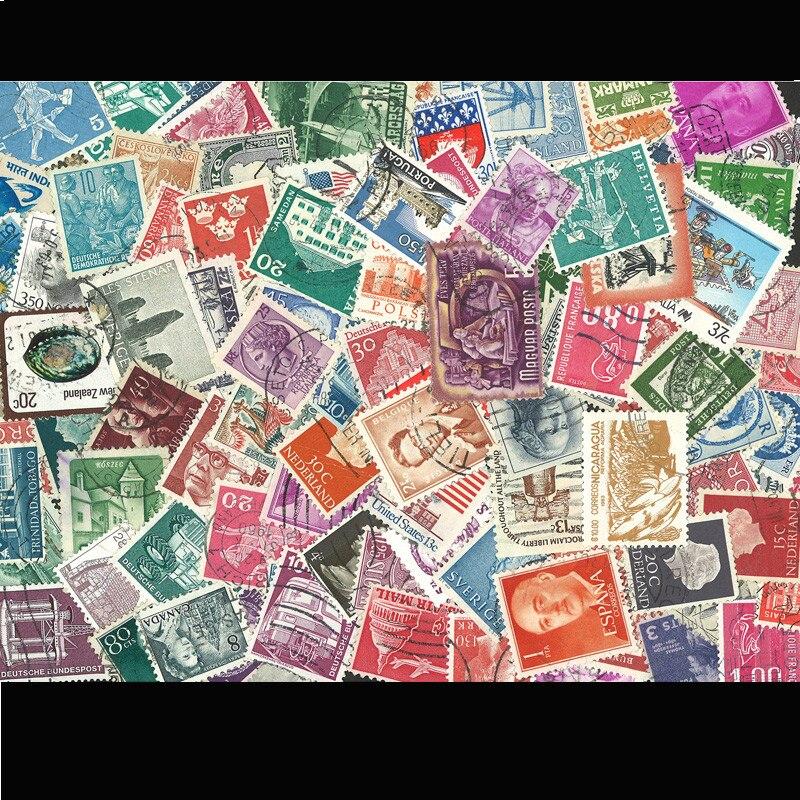 Image 2 - 100 pçs/lote todos os diferentes antigos/vintage selos postais  marca com pós marca, sem repetição timbres selospostage stampsstamp  brandsvintage postage stamps