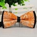 12 cm * 6 cm de los hombres de la marca 2014 orange borboleta pajarita jacquard mariposa moda gravatas pajaritas ajustable lote a granel venta al por mayor