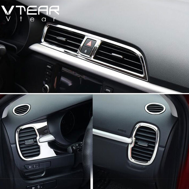 Vtear For Kia Rio 4 x line Accessories air outlet circle cover x-line interior mouldings car-styling chrome trim decoration 2017 4