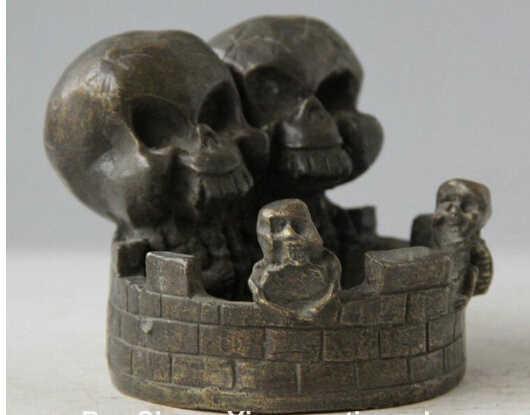 SCY 1124 + Oude Chinese Dynastie Bronze Twee Schedel Hoofd Human Sterven Standbeeld Asbak Tabakspot