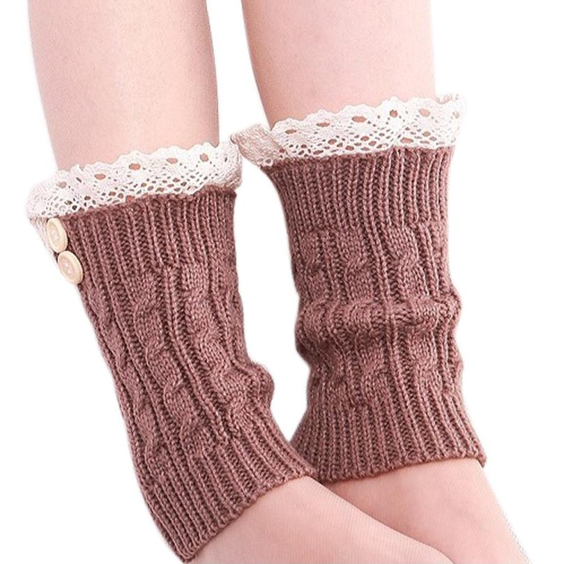 CHAMSGEND 1 Pair of Womens Lace Stretch Boot Leg Cuffs Leg Warmers Socks Topper Cuff Drop Shipping 1J29