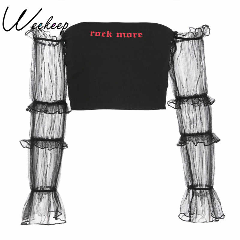 Weekeep Сексуальная Обрезанные сетки с длинным рукавом Лоскутная футболка летние черные Письмо печати 2018 уличная спинки укороченный топ