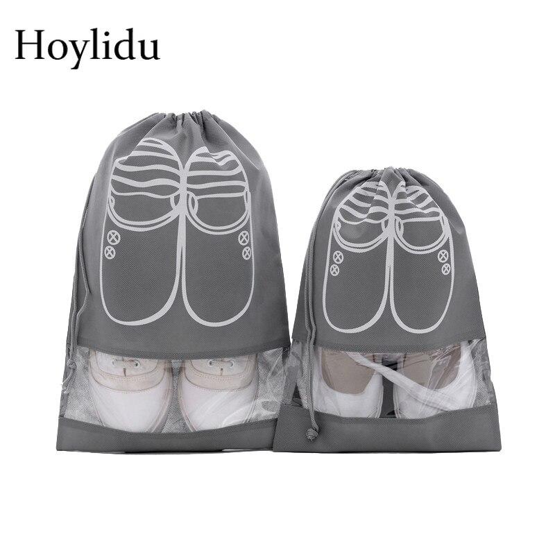 1 Pcs Waterproof Travel Shoes Bag Organizer Non-Woven Women Portable Drawstring Shoe Bags Pouch Dustproof Underwear Visual Tote