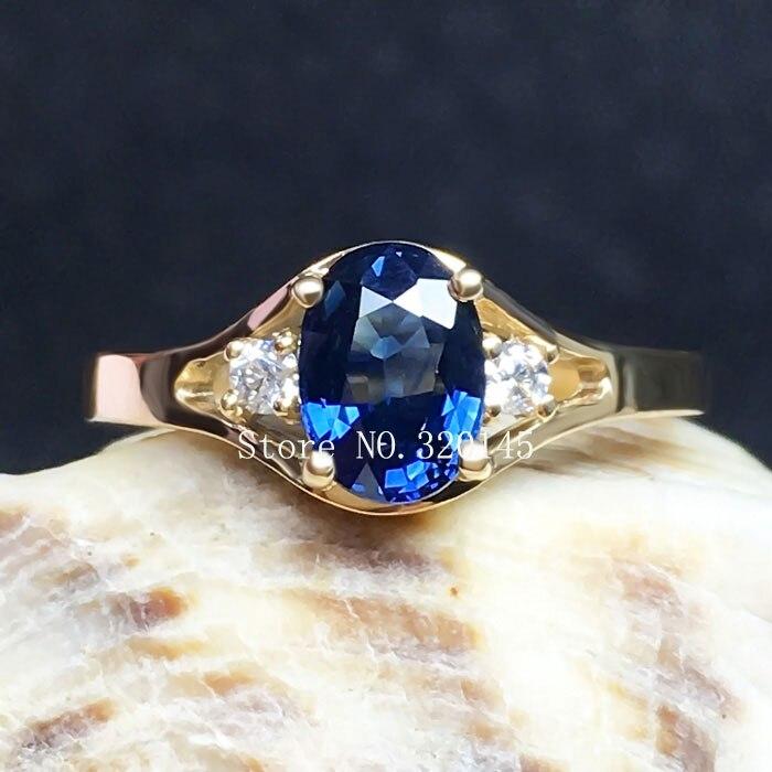 18 К золото инкрустированные Природный сапфир кольцо Женщины бросить