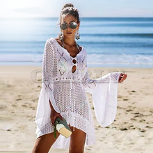 Cuerly V neck white mesh lace dress women sexy summer beach short Causal flare sleeve vestidos 2019 L8