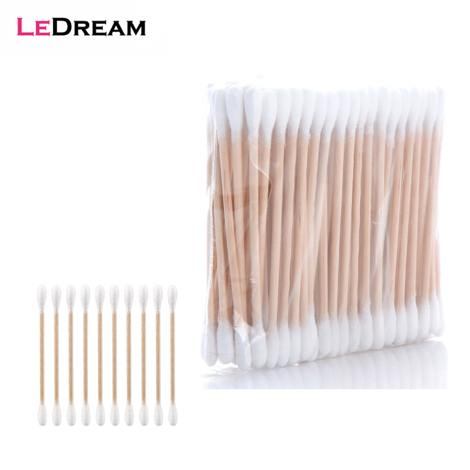10 Bags Cleaning The Ears Wooden Cotton Swabs Cosmetic Cotton Buds Ear Head Health Makeup Cosmetics Clean Ear Cotton Stick Swab