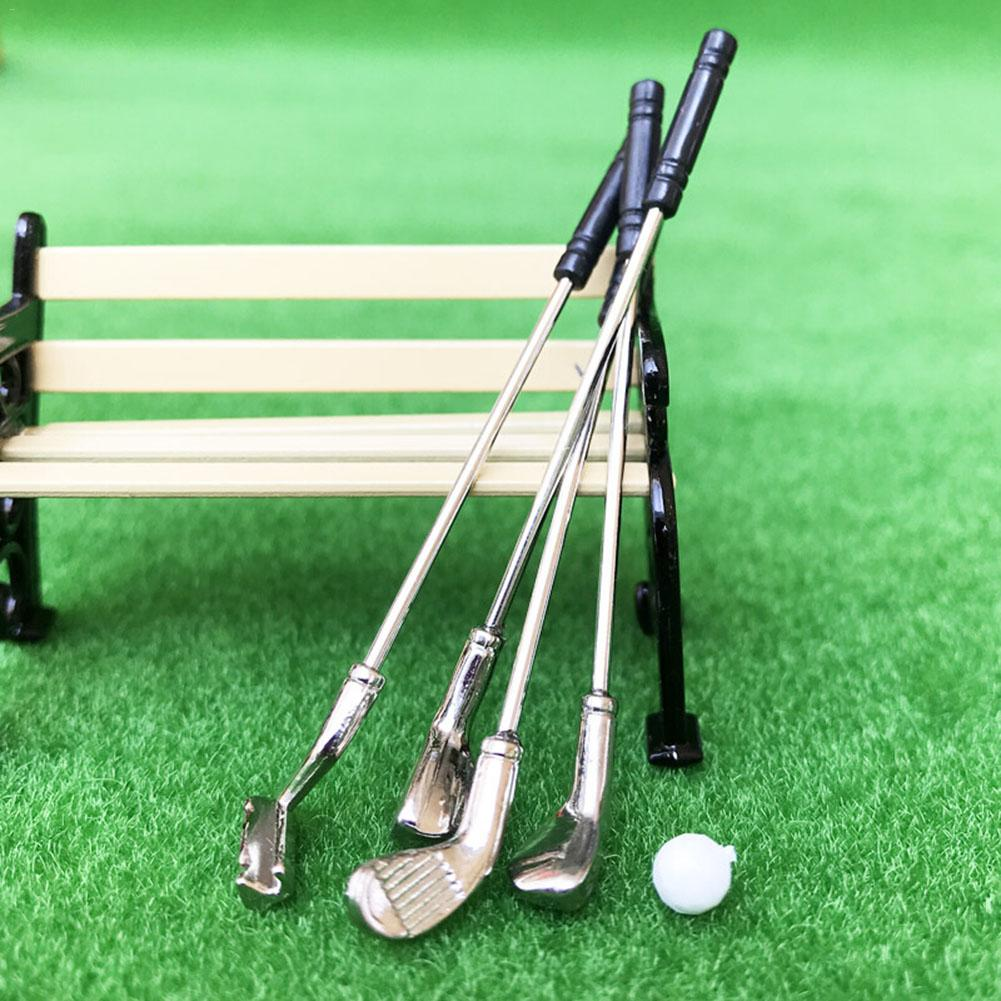 Doll accessories 1:12 Dollhouse accessories mini alloy golf Kit Sports Equipment Golf Club and Golf Ball dolls toys for girls