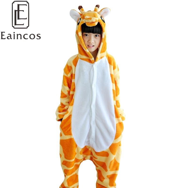 Children Kids Flannel Onesies Cute Cartoon Animal Giraffe Pajamas Cosplay Party Costume Gils Boys Pijamas Pyjamas Sleepwear