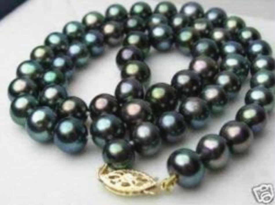 8-9mm natural black cultured freshwater pearl round beads necklace for women high grade party gifts chain jewelry 18inch MY4154