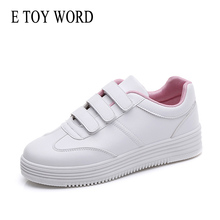 E TOY WORD White Sneakers Women flat 2019 Autumn Fashion shoes Casual Platform PU Leather Shoes