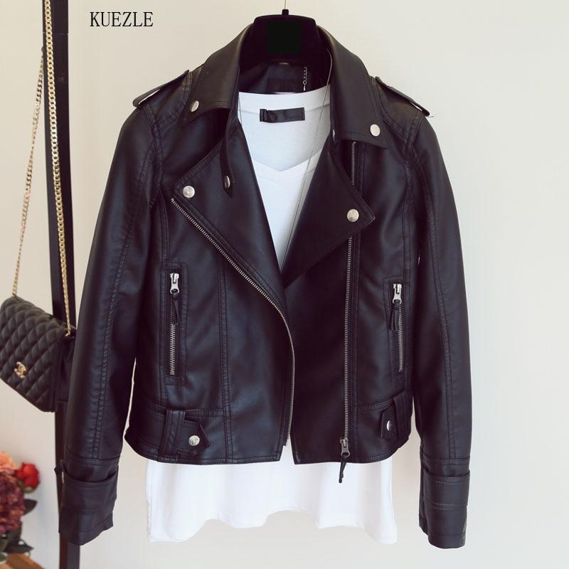 jaqueta feminina 2018 Design Spring Autumn PU   Leather   Jacket Faux Soft   Leather   Coats Slim Rivet Zipper Motorcycle Pink Jackets