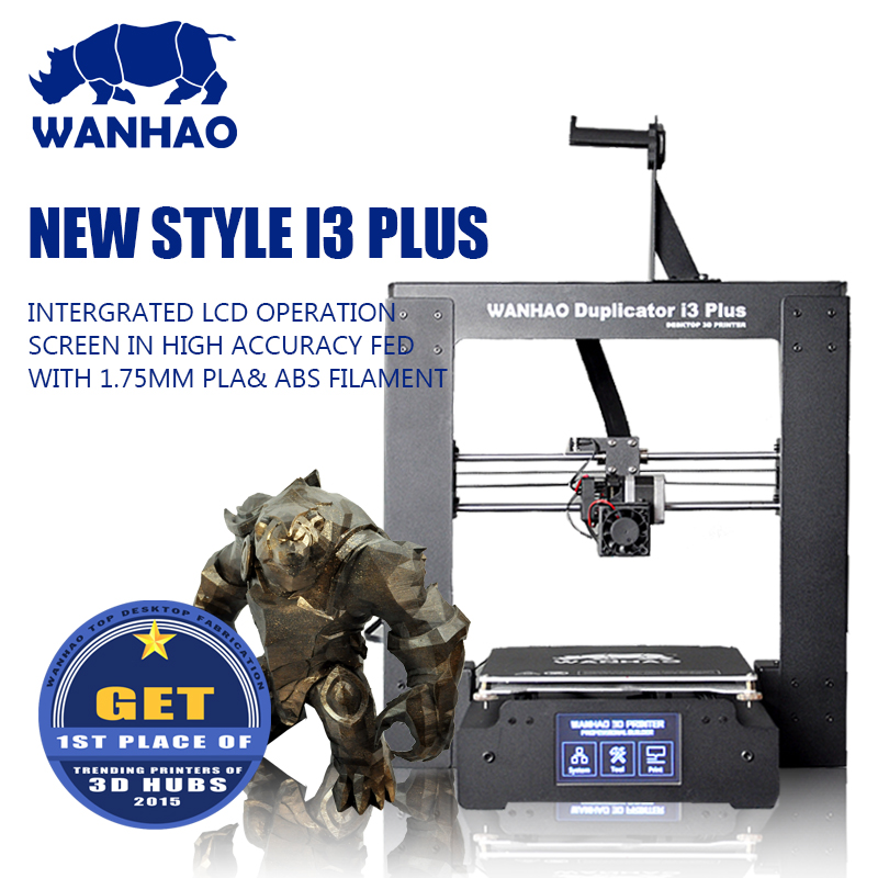 WANHAO hot sale i3 Plus 3D printer DIY, 45 degree LCD display, including one printer, one spare parts bag, testing filament 10M
