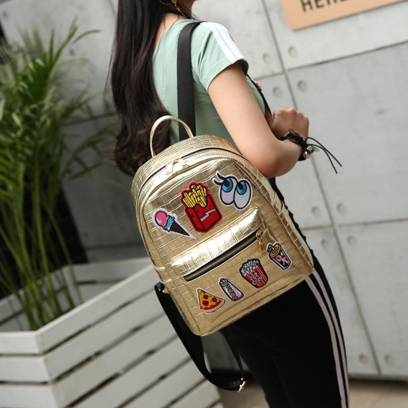 2018 High Quality PU Snake Leather Cartoon Pattern Big Eyes cartoon Badge Cute Travel Backpacks PU Backpacks Women Rock Bags