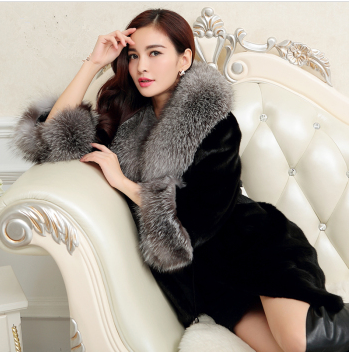 New Fashion 2107 New arrival oversized fur Plus size Faux Fur collar mink hair fur coat female long Rabbit fur