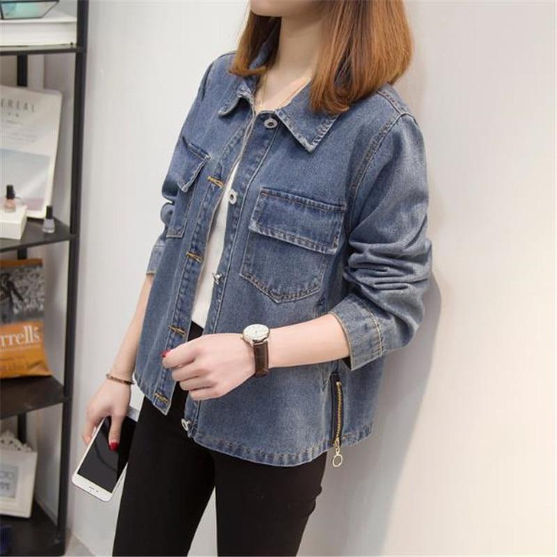 New High-end Denim Jacket Women 2018 Spring Autumn Short Denim Coats Female Jeans tops Lapel Plus Size Women Loose Outerwear 1