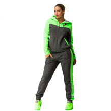 Лоскутное зеленый на молнии 2 из двух частей комплект Топ и Брюки для девочек негабаритных спортивный костюм Для женщин Толстовки кофты 2017 спортивная одежда тренировочный костюм 40j