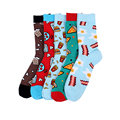 5 pairs / lot 21 Style Colorful Combed Cotton Brand Men Socks Dress Business Harajuku Sock Best Gift