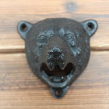 set of 2pcs HOMESTIA Black Cast Iron Beer Opener Wall Mounted Durable Cute Bear Design For Home Free Shipping