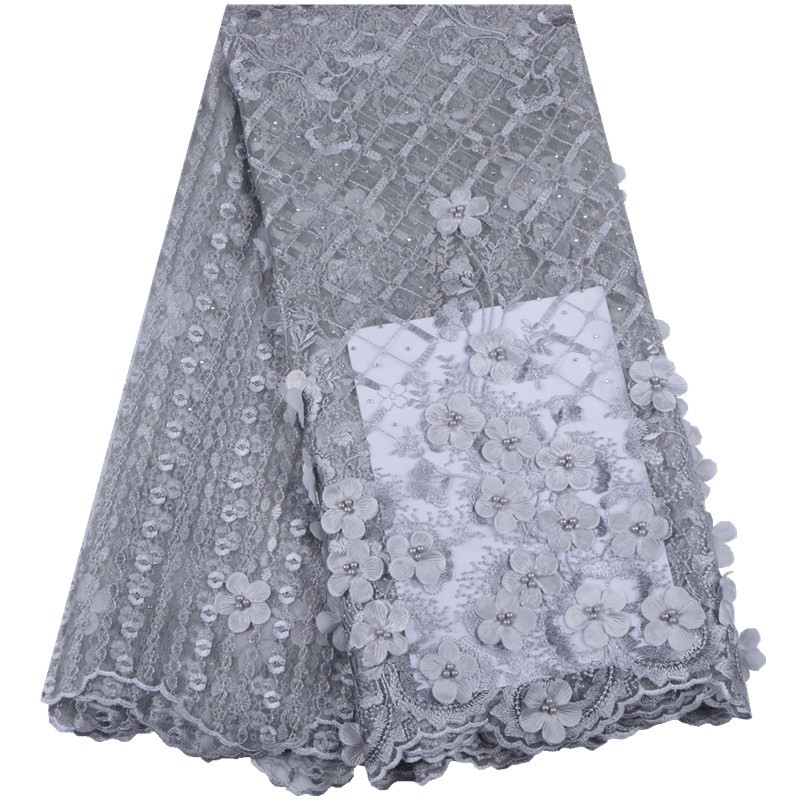 Latest African Lace 2019 High Quality Tulle Mesh Fabric Lace Nigerian Voile Lace French Cord Guipure