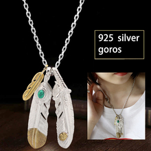 925 Sterling Silver Pendant Necklaces Feather Charm Punk Link Thai Silver Eagle Chain For Men And Women Takahashi goros jewelry fnj 925 silver necklace 7mm punk chain anchor cross necklaces for women men thai s925 solid silver jewelry making