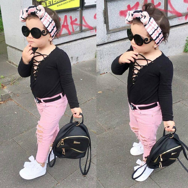 2017 New Fashion Kids Clothes Sets For Girls Black Long Sleeve Shirt +  Pink Color Pant Baby Children Girls Clothing Suits 2017 new baby children clothes suits velvet hello kitty cartoon t shirt hoodies pant twinset long sleeve children clothing sets