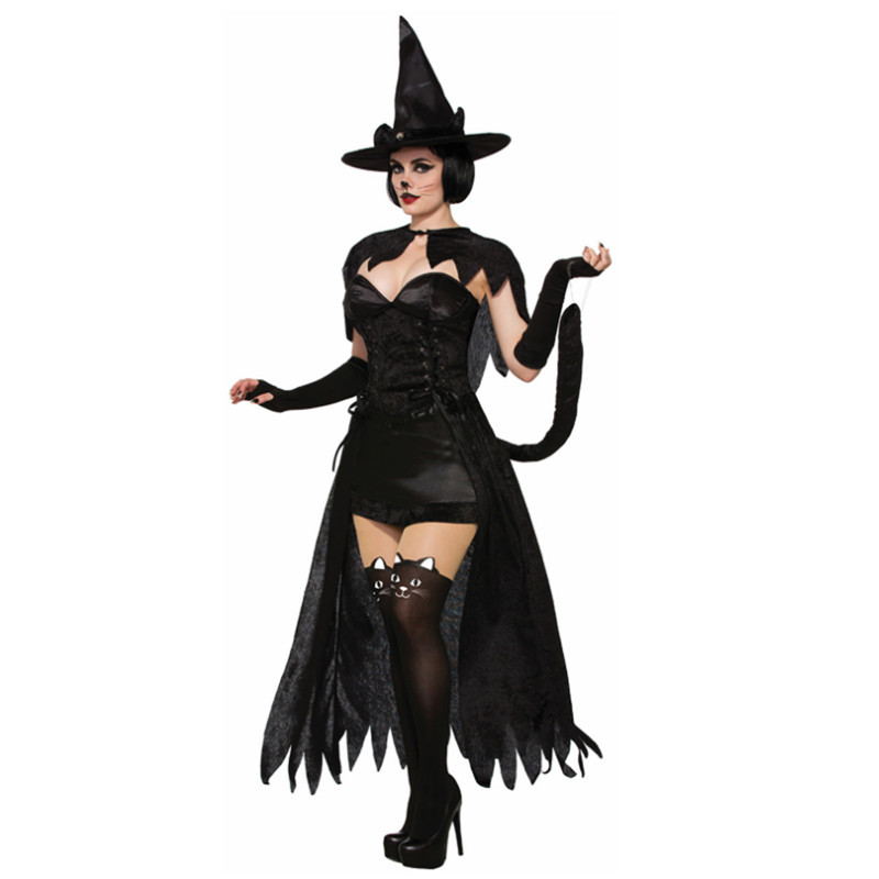 new high quality Sexy Black Witch Halloween Costume For Women Club Party Black Queen Costume Black catwoman Cosplay Fancy Dress
