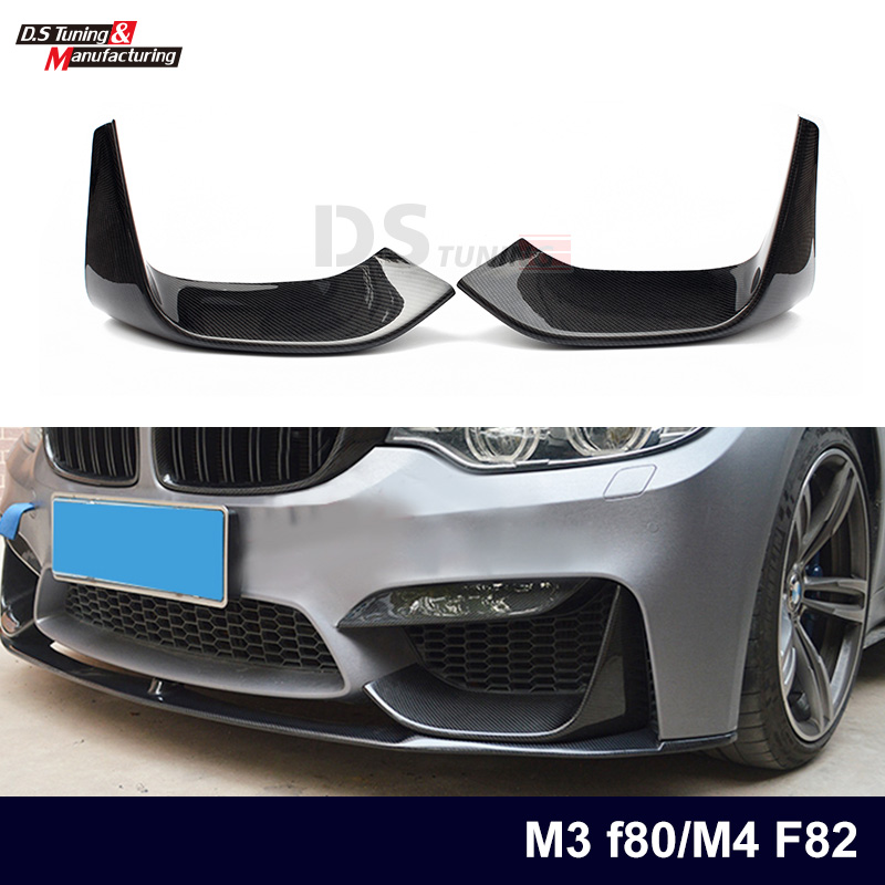 цена на 1 Pair M3 F80 M4 F82 Front Bumper Spoiler Carbon Fiber Splitter for BMW 3 Series M3 F80 4 Series M4 F82 Car Styling 2012 - IN