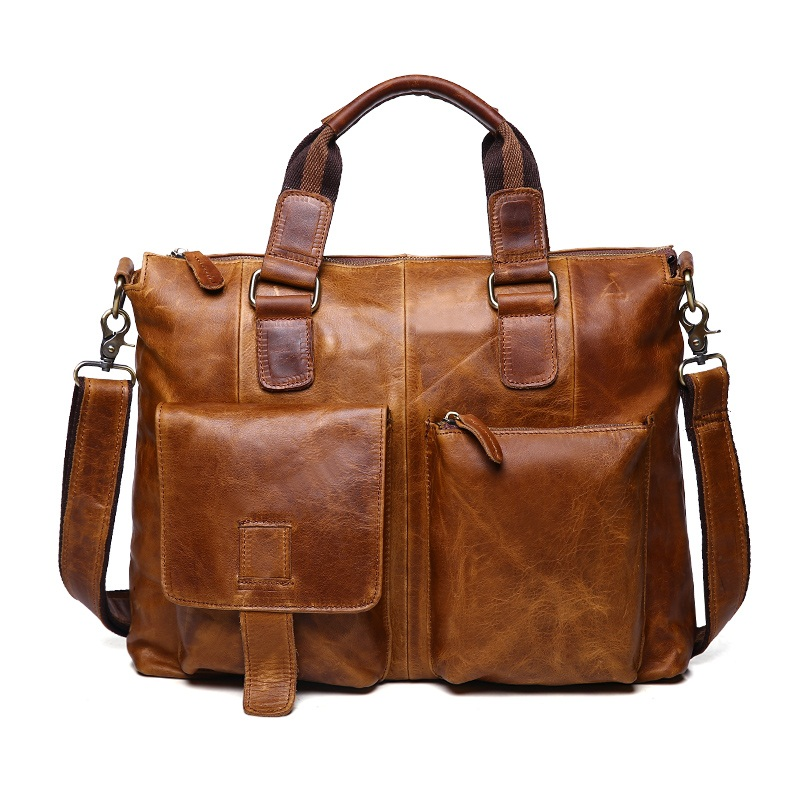 Crazy horse genuine leather shoulder laptop bags 14  high quality retro mens portfolios briefcase handbags men business bag retro crazy horse cow genuine leather bags 16 inch men s shoulder bag for men briefcase real leather handbags laptop bags