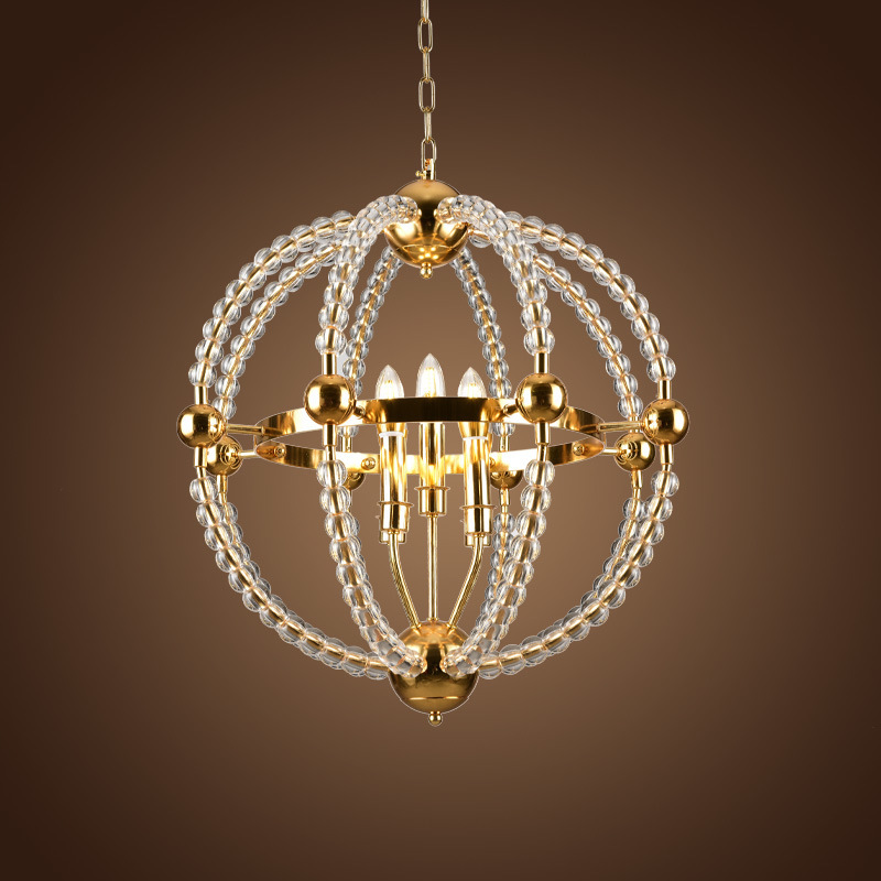 Gold crystal beaded chandelier lamp globe metal iron candle chandelier sphere hanging light fixtures for living room kitchen