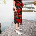 2016 Новая Мода Цветочный Печати Шифон Юбка Женская Летний Пляж Макси Юбка Высокой Талией Цветок Длинная Юбка Для Женщин