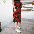 2016 Nova Moda Floral Impressão Saia de Chiffon Das Mulheres Da Praia do Verão Maxi Saia de Cintura Alta Flor Saia Longa Para As Mulheres