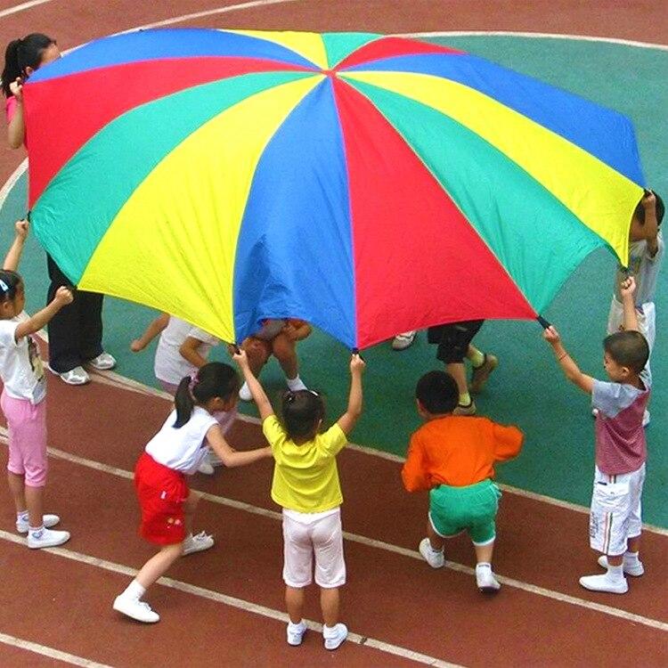 2-6M średnica odkryty Camping parasol tęczowy spadochron zabawka skok-worek Ballute zagraj w interaktywną pracę zespołową gra zabawka dla dzieci prezent