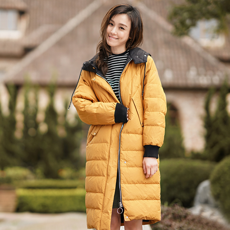 INMAN Women's Winter New hooded Loose Long clothes to warm duck's   down     coat