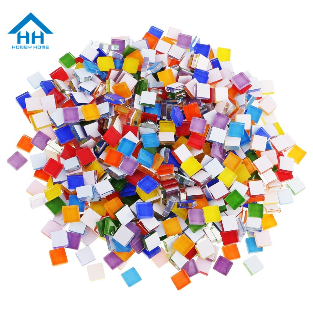 500pcs/pack DIY Mosaic Making Tiles For Art Crafts Creation Square Candy Mosaic Tiles Transparent Glass Tessera Home Decor