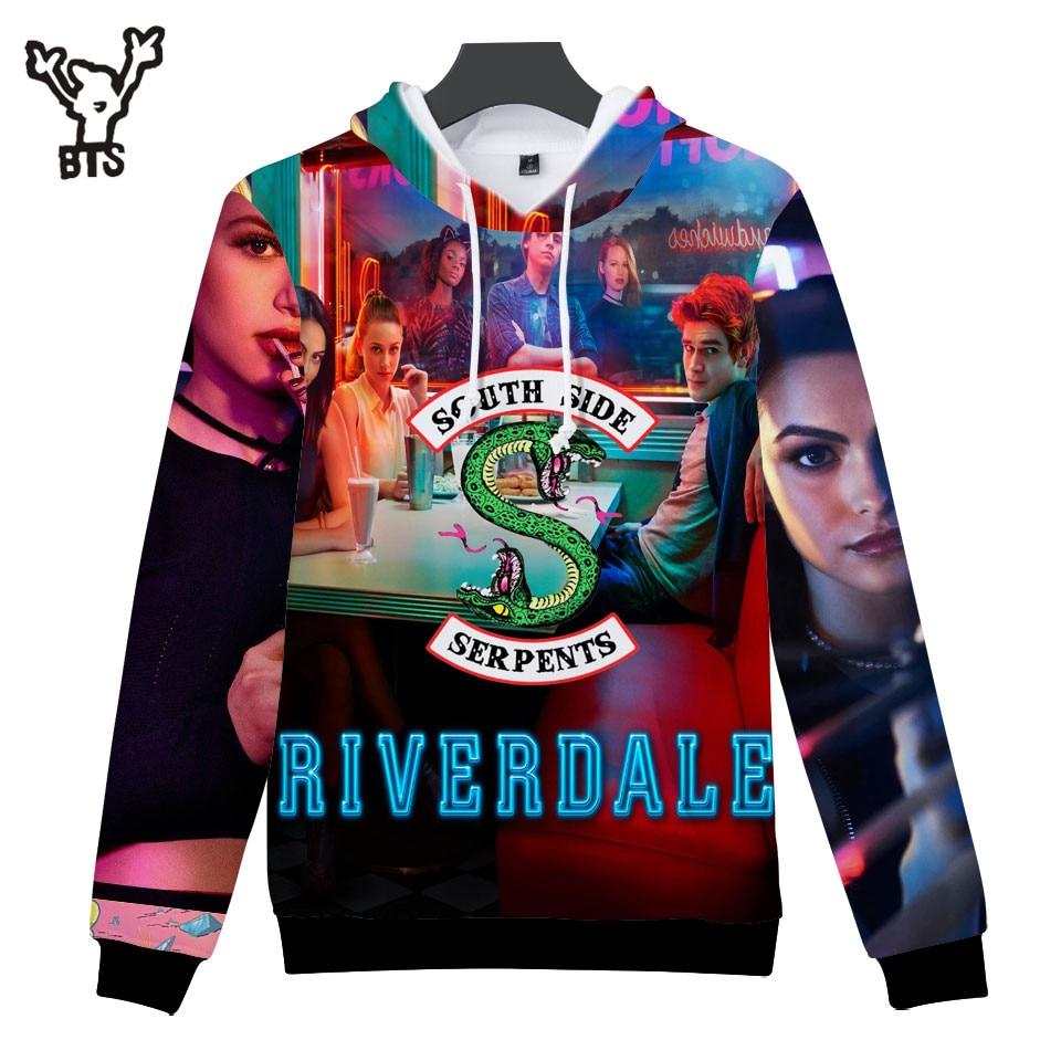 BTS 2018 Riverdale 3D Autumn/Spring Women Hoodies Fashion Anime Hooides Sweatshirts Creative Design Men Cool Hoodies Print 4XL