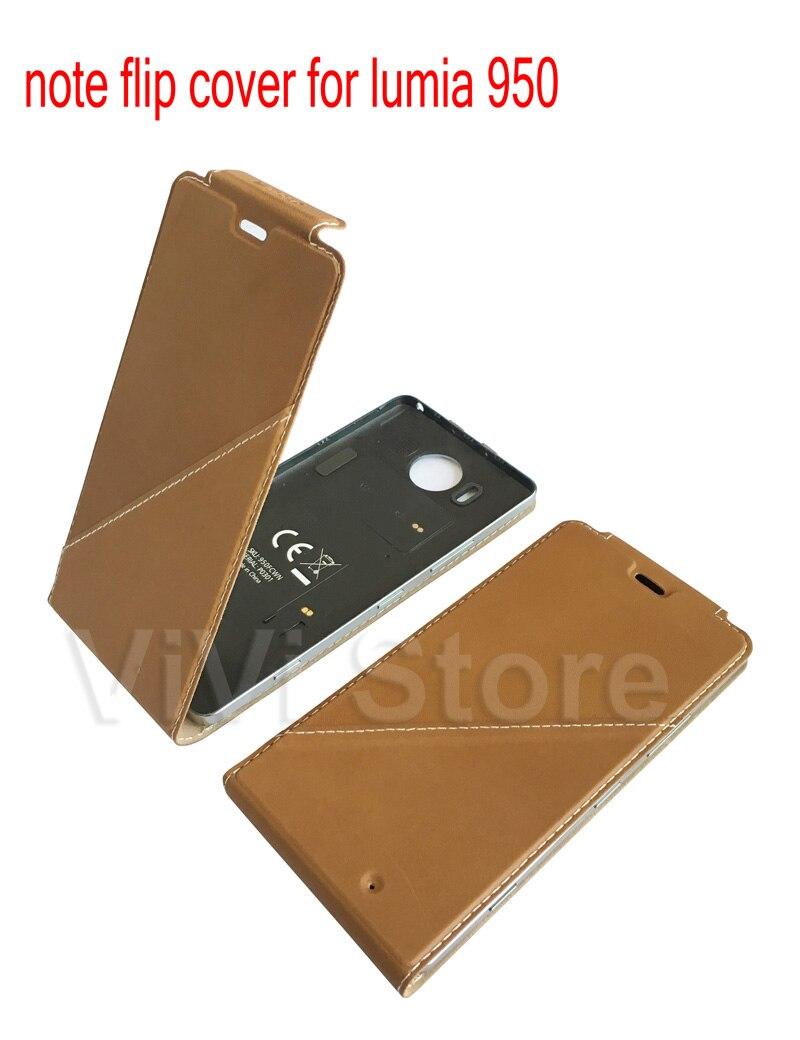 imágenes para Nota Flip cubierta para Microsoft lumia 950 Cuero Genuino Delgado para Nokia lumia 950 Caso de La Contraportada con NFC + carga Inalámbrica