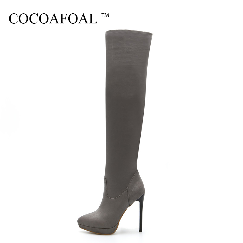 COCOAFOAL Women's Black Thigh High Boots Winter Woman Red High Heel Shoes Sexy Plus Size 33 43 Pointed Toe Over The Knee Boots 2018 new winter women over the knee boots high heel pointed toe sexy ladies women shoes red black long thigh high boots big size