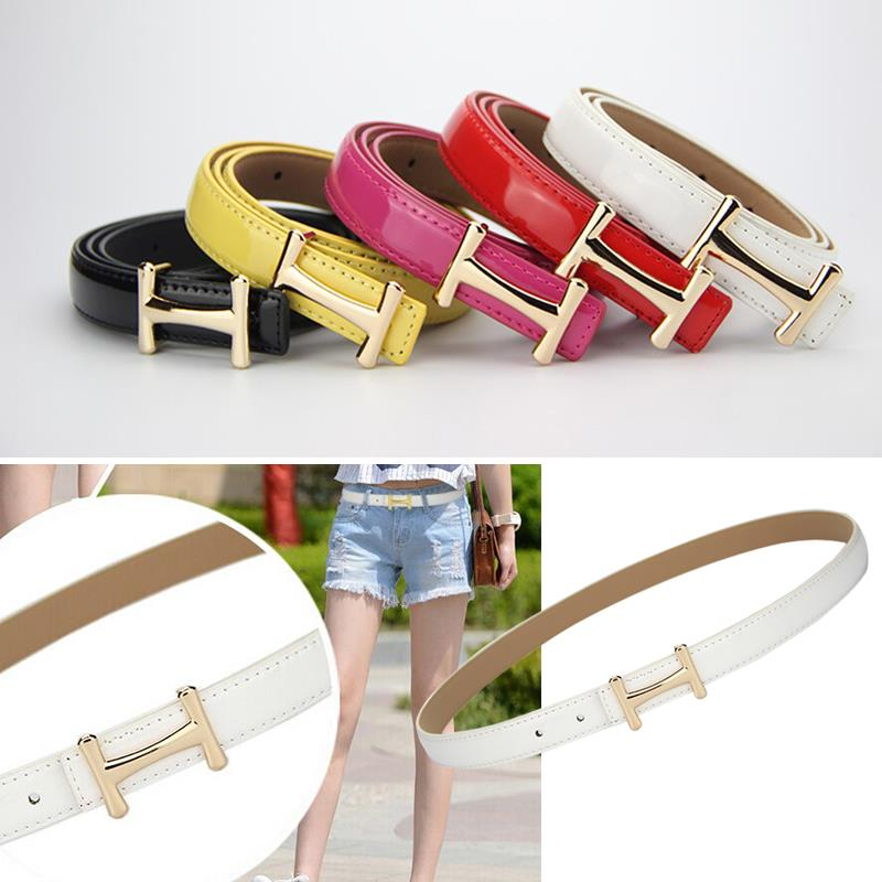 3pcs/lot Fashion Lady Waist Belt Slender Pants Dress Waistbands With H Style Buckles PU Leather Thin Belts Solid Color Os896