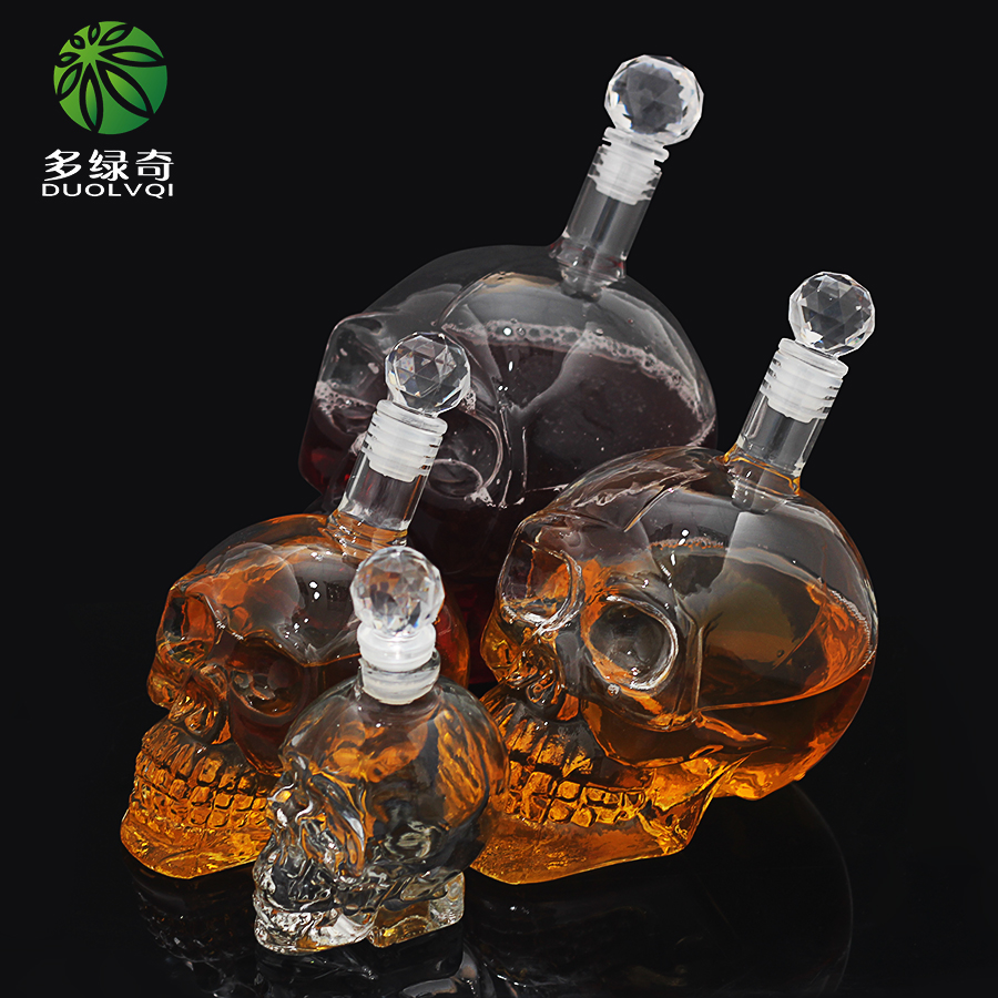 DUOLVQI Vodka Bottle Skull Head Bottles Wine Glass Bottle with Tap Creative Gothic Wine Glass Cup Decanter glass bottle