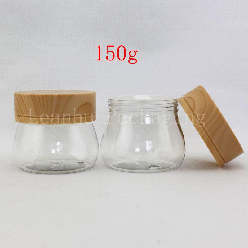 Unique 150g X 12 Empty Cream Cosmetic Container With Wood Grain Lid Spatula Clear 5OZ Skin Care Cream Bottle Plastic Pot Jar Tin