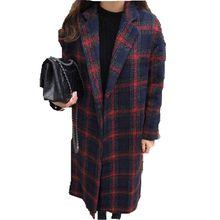 2016 Grid cloth Coat New Winter Women Clothing Han edition Coat  Long Loose Fashion Temperament Woolen Cloth Coat  A0108