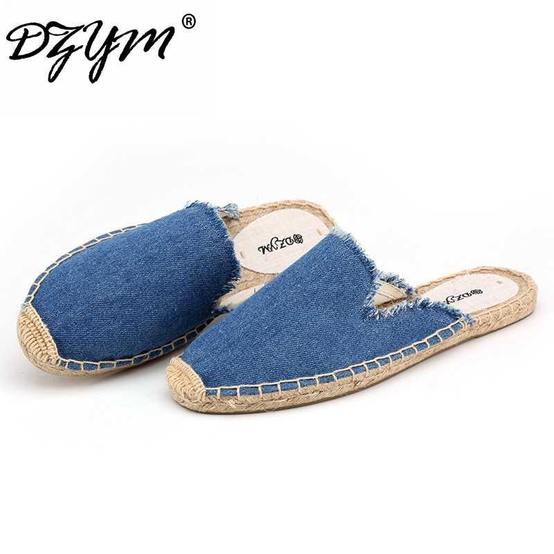 DZYM 2019 春夏デニムの女性スリッパリネンカウボーイスライドキャンバスエスパドリーユミュール靴 Sapatos Femininos