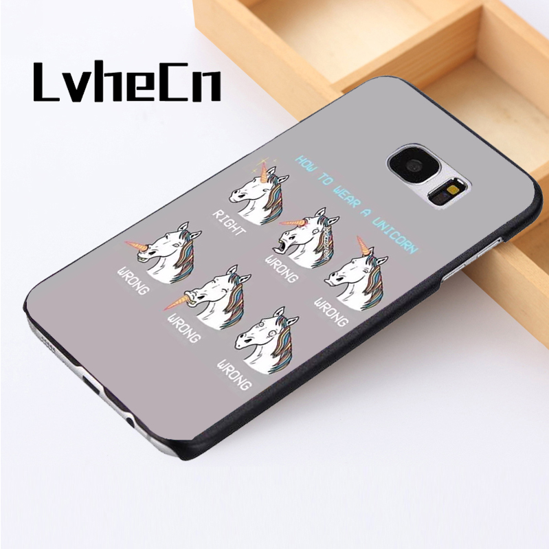 LvheCn phone case cover For Samsung Galaxy S3 S4 S5 mini S6 S7 S8 edge plus Note2 3 4 5 7 8 Unicorn Funny Joke Mythical Creature